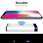 最大5V/1AのQiワイヤレス充電と5V2.1Aの急速充電が同時にできる8,000mAhモバイルバッテリー「NOCABLE」