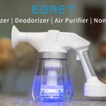 殺菌・消臭に効果的な次亜塩素酸水を精製散布するスプレーボトル「Egret EO Blaster」