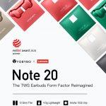 厚みはたったの13.5mm、薄さで携帯性に優れたBT5.0採用カナル型TWSイヤホン「Note 20」