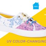 紫外線を浴びている事がよく分かる、紫外線で色や模様が変わるレディース&キッズ・シューズ「SUNS Shoes」